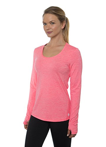 RBX Active Women's Long Sleeve Striated Heathered Stripe Shaped Scoopneck Tee Red M