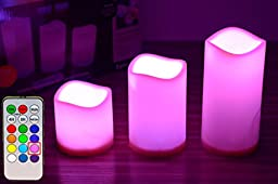 Glowseen® Glow Candles - Flameless Color-Changing Candles, Battery-operated LED Pillar Candles with Remote Control & Timer(Pack of 3)
