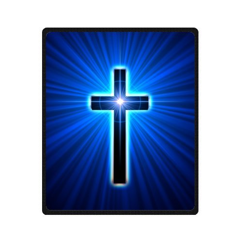 Personalized Fashion Back Glowing Cross Picture Fleece Blanket 50 X 60 back-1071488
