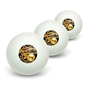 Buy Gears in the Brass Machine Novelty Table Tennis Ping Pong Ball 3 Pack by Graphics and More