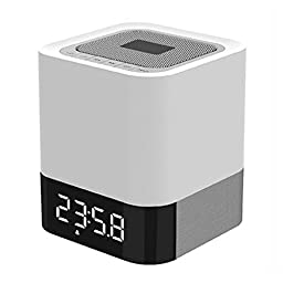 Digital Indoor with Large Night Lighting LCD Screen, Temperature and Humidity Forecast, Alarm Clock, Silver