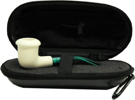Mini Hand Carved Calabash Meerschaum Pipe & Hard Case