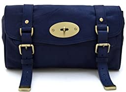 Lush Leather Brit It Girl Royal Blue Clutch