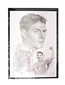 Steven Gerrard - Beautiful Large A3 Pencil Sketch Print By Jonathan Wood from THE JONATHAN WOOD COLLECTION