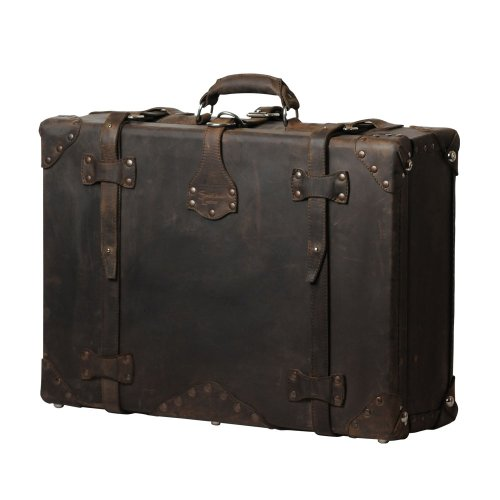 "A Handmade Dark Coffee Brown Leather Suitcase, Luggage, Valise ""They'll Fight Over When You're Dead"" (Large)"