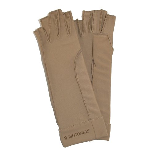 totes-isotoner-unisex-therapeutic-compression-fingerless-gloves-xs-tan