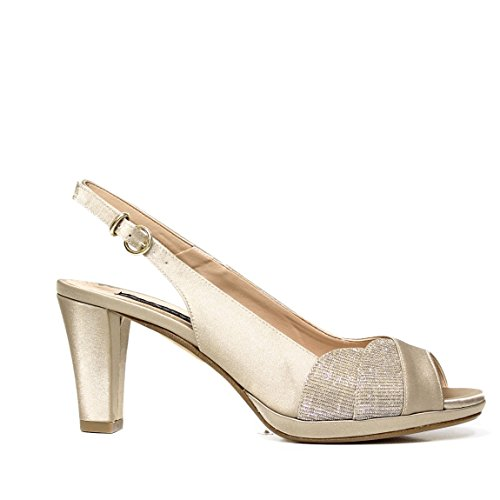 Bacta De Toi 309 400 Sandalo In Raso Platino Con Tacco PLATINO 309 400