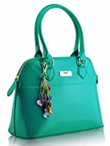 KCMODE Womens Green Emerald Turquoise Blue Patent Tote Shoulder Handbag