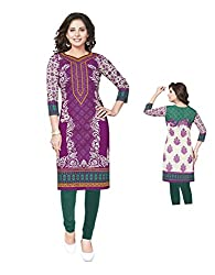 PShopee Purple Cotton Printed Unstitched Kurti/Top Material