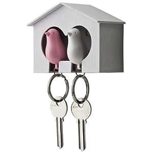 Qualy DUO Sparrow Key Ring クオリー デュオ スパローキーリング ペアセット [ キーリング 笛 ] ホワイト/ピンク《090037PI》