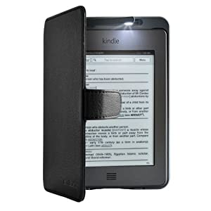 Swees® NEW Kindle Touch Lighted Leather Case Cover with Built-in Light for Amazon Kindle Touch - Black