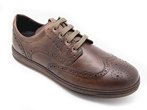 Lion shoes derby uomo con motivo a coda di rondine, tomaia pelle soft moro e suola di gomma (EU 43)