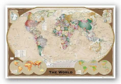 Executive Style, World Map (Winkel Tripel Projection) Art Poster Print - 24x36
