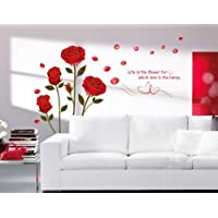 Decor Romantic Red Rose Flowers Wall Decals, Living Room Bedroom Removable Wall Stickers Murals