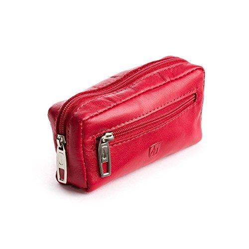 DV Portachiavi uomo donna in Vera Pelle Borsa Astuccio con cerniera Zip a 2 anelli Rosso