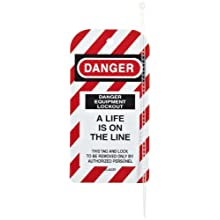 "North Safety ""Danger Equipment Lockout - A Life Is On The Line"" Styrene Tag with Reverse Side Dismissal Warning, 5-3/4"" Length, 3"" Width"