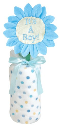Stephan Baby Stand-Up Greetings Bendable Stem Sign and Multi-Dot Fleece Blanket Gift Set, It's a Boy