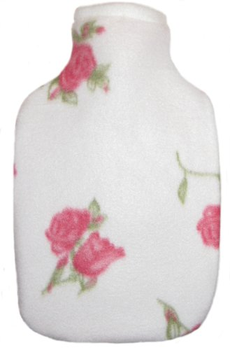 Warm Tradition Rosebuds Print Fleece Covered Hot Water Bottle- Bottle Made In Germany, Cover Made In Usa
