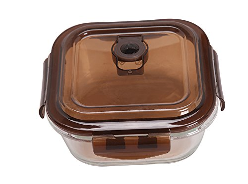 Shazinna Toughened Glass Leakproof Bento Lunch Box Container for Kids and Adults (Coffee)