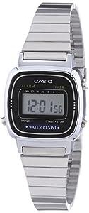 Casio - Vintage - LA670WEA-1EF - Montre Femme - Quartz Digital - Cadran Noir - Bracelet Acier Argent