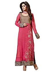 Admyrin Womens Net A-Line Dress Material (Ay-Sk-Bm-1040 -Pink+Brown -Free Size)