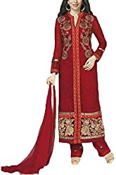 Vivacity Women's Faux Georgette Unstitched Dress Material (Fiona-5188_Red_Free Size)