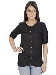 Franclo women's Formal Shirt (Black, Medium)