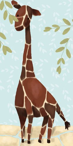 Oopsy Daisy Gillespie the Giraffe Blue Stretched Canvas Wall Art by Meghan O'Hara, 12 by 24-Inch