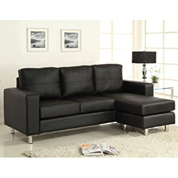 Contemporary Style Black Leatherette Finish Sofa by Furniture of America