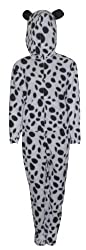Ladies Dalamation Dog Print Fleece Hooded Footless Onesie with 'Ears' Available in a Selection of Sizes