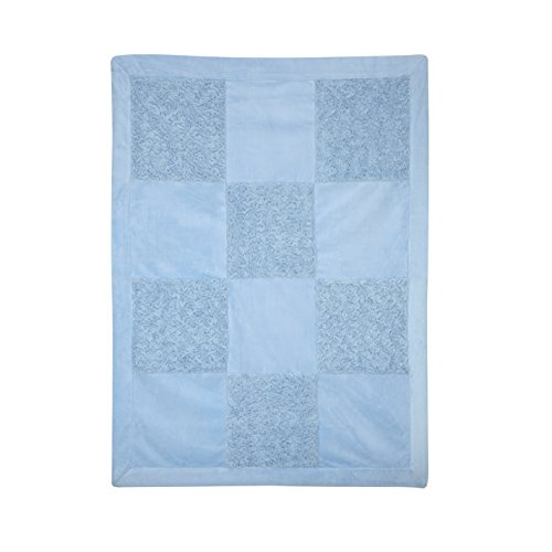 Little Me Blue Patchwork Blanket, Blue, Infant