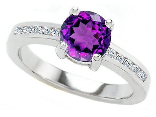 Star K Round 7Mm Simulated Amethyst Engagement Ring Size 6