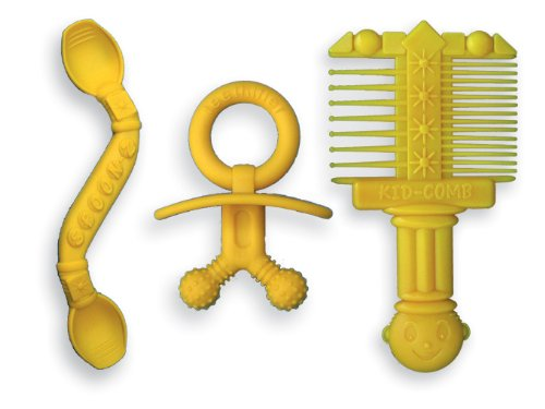 Baby Gift Set detangler Comb, Teether, Spoon (3 Pc. Package)