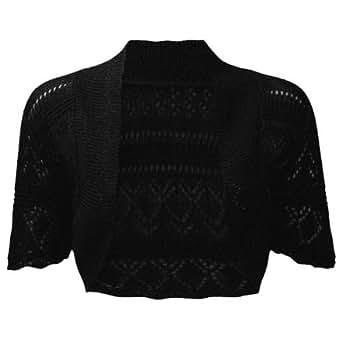 Ladies Bolero Shrug Crochet Knitted Cardigan In Sizes 8-22 (8/10, Black)