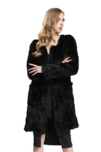[Topfur Women's Black Overcoat Rabbit Fur Outwear Winter Warm Outcoat(US 10)] (Faux Chain Hooded Costumes)
