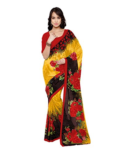 Fabdeal Ethnic Printed Yellow and Red Georgette Saree  available at amazon for Rs.499