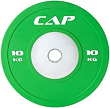Cap Barbell Olympic Rubber Bumper Plate with Steel Hub 2-Inch (Single), Green, 10 Kg