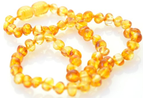 Amber teething necklace. HONEY BAROQUE BABY Amber Necklace. Authentic Baltic Amber Baby Teething Necklace - 1