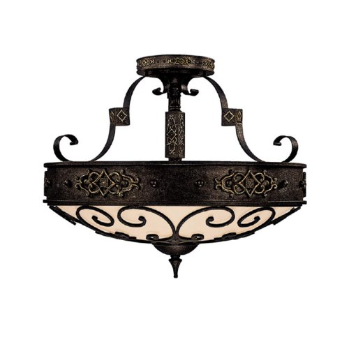 Capital Lighting 3615RI Semi-Flush Mount with Rust Scavo Glass Shades, Rustic Iron Finish