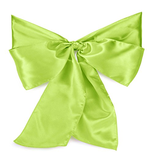 Lann's Linens - Satin Chair Sashes / Bows - for Wedding or Banquet - Lime - 10pcs
