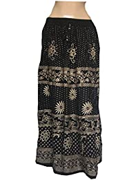 The Jaipur Bazar Women's Reyon Jaipuri Long Skirt Black With Golden Print
