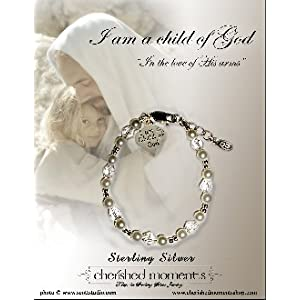 "Sterling Silver ""I Am a Child of God"" Charm Bracelet with Pearls and Crystals for Girls (6-10 years) charm silver plated"