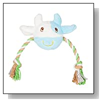 Blueberry Pet Toys Candy the Cute Aquamarine and White Cow - Tug & Squeak Toy for Dogs, Puppy Toys