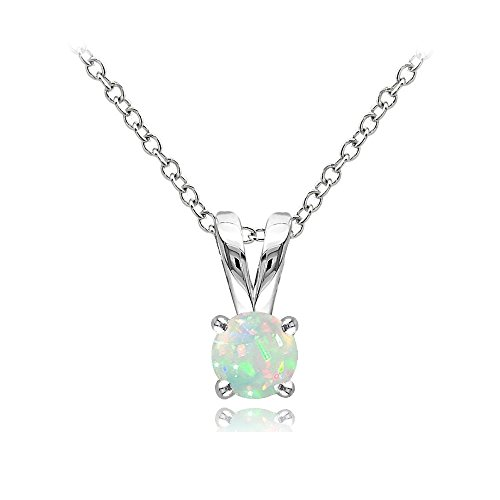 Sterling Silver Ethiopian Opal Round Solitaire Necklace, 5mm (Sterling Silver Bullet Necklace compare prices)