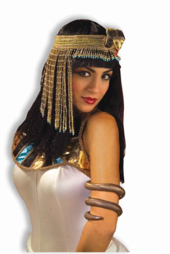 Forum Novelties Women's Egyptian Costume Accessory Asp Snake Beaded Headpiece, Gold, One Size - 1