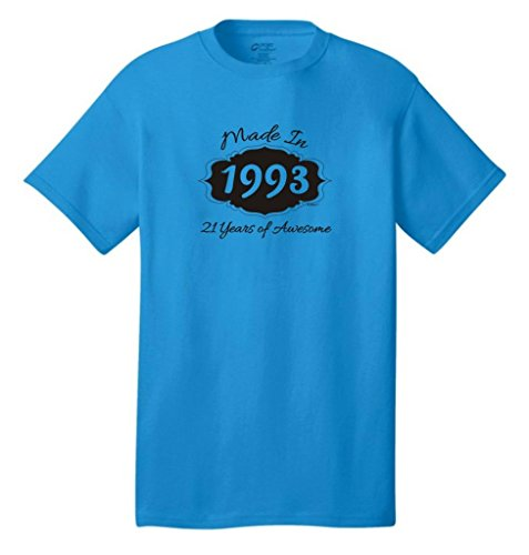 Made In 1993 21 Years Of Awesome Birthday Neon T-Shirt Medium Neon Blue front-962885