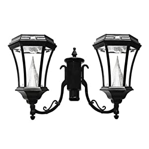 Buy Gama Sonic Victorian 2 Solar-Charged LED Lanterns on Single 3-Inch Fitter for Post Mount, Black... by Gama Sonic