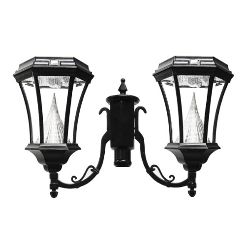 Gama Sonic Victorian Solar Outdoor Double Lamp Led Light Fixture, 3-Inch Fitter For Post Mount, Black Finish #Gs-94F2
