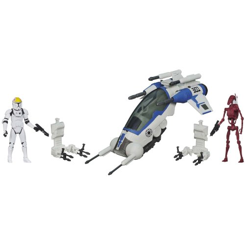 Star Wars 501st Legion Attack Dropship Vehicle with Clone Pilot and Battle Droid Figures (Star Wars Dropship)