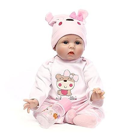 NPKDOLL Reborn Bébé Poupée en vinyle souple en silicone Simulation 22inch 55cm magnétique Bouche Lifelike Enfants Jouet Mignon Ours rose Lucy avec les yeux acryliques Baby Doll A1FR